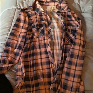 Pink and Navy plaid flannel